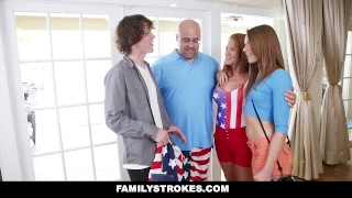 FamilyStrokes - 4th Of July BBQ Turns Into Sibling Fuckfest step-siblings hardcore babe shaved cumshot step-brother smalltits brunette cowgirl familystrokes facialize bigcock step-sister kristen-lee facial doggystyle