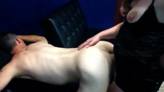 she sucks him and owns his ass dildo hard anal pounding milf pegging guy pegging his ass strap on blow job anal hard anal femdom pegging amateur femdom strapon