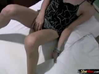 Sweet ladyboy wakes up with hard on and is hungry for cum