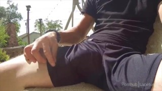 Preview 3 of Cumshot in athletic shorts