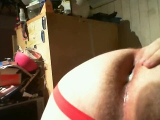 Chub shows his creampie and gets his fucked with a big dildo 'til he cums