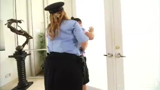 Preview 2 of Sexy BBW Police Stripper Kimmie Kaboom Fucks 2 Young Studs