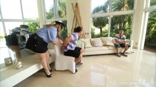 Preview 4 of Sexy BBW Police Stripper Kimmie Kaboom Fucks 2 Young Studs
