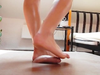 Cock crush dancing with wonderful sexy feet and cumshot