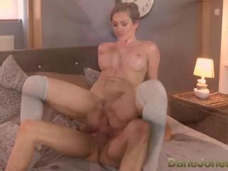 DaneJones Big boobs brunette pussy drip with cum after creampie