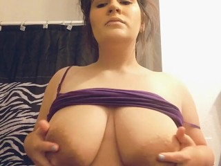 Playing with my huge tits