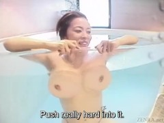 Subtitled Japanese huge breasts wife skinny dipping titjob