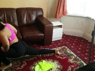 Little Abbie big butt ass natural tits exhibition stretching workout dancer