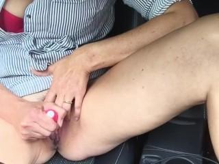 Cumming in the car
