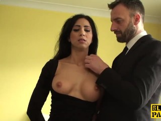 British sub slut roughfucked then cumswallows