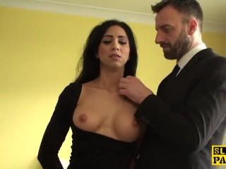 British sub slut roughfucked then cumswallows