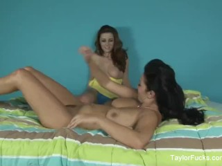 Brunette babes Taylor and Jelena lick each other's wet pussies