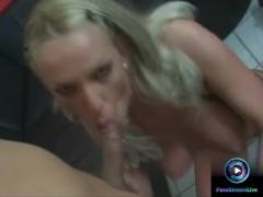Busty blonde Ramona gives a sloppy blowjob to orgasm