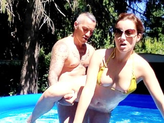 Fucked in the outdoor pool