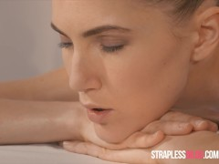 Rossy Bush Massages and Licks Mia Reese Before Strapless Dildo Pounding