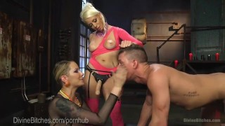 Legendary Femdom Bathroom Domination  strap on pegging dominatrix tease bdsm punish femdom blonde tattoo torment divinebitches kink 3some threesome bondage anal natural tits