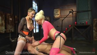 Legendary Femdom Bathroom Domination  strap on pegging dominatrix bdsm femdom blonde tattoo kink 3some threesome bondage anal tease natural tits punish torment divinebitches