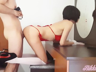 Hot Nikki in ravishing red lingerie and high heels fucked on Holidays #2