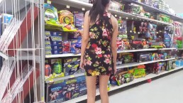 Walmart Flashing in a Mini Dress - Upskirt - Lydia Luxy