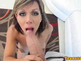 Bigtitted latina tgirl spoiled with big cock