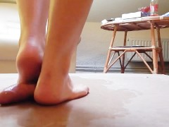 Cock crush dancing with sexy barefeet red toenails and cumshot
