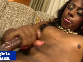 Ebony tgirl beauty busting creamy load