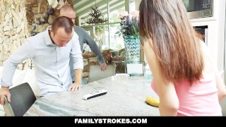Preview 1 of FamilyStrokes - Best friends trick step sis into brotherly gangbang