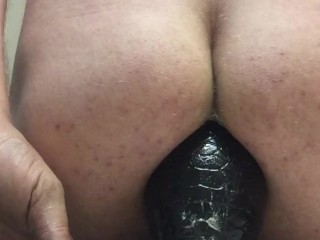 "Overstretched male rides his 3.5"" Tilapia Butt Plug"