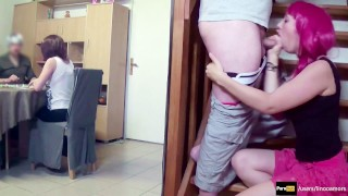 Step-sister suck bro's dick and swallow while parents are playing #POV