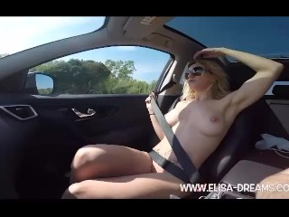 Flashing naked and dirty in the car