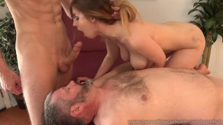 Stella Cox Jerks Her Husband Off While Being Pounded big cock 3some wife masturbation bisexual husband blonde blowjob cumeatingcuckolds threesome cum eating cuckold cum shot bull