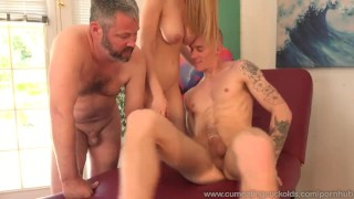 Stella Cox Jerks Her Husband Off While Being Pounded  big cock cuckold wife husband blonde blowjob 3some threesome cum shot cumeatingcuckolds cum eating bisexual bull masturbation