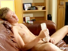 Slim twink with long dick fucking his fleshlight
