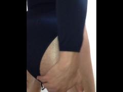 Dick Bulging Thru Sexy Black Bodysuit and Shiny Tights