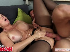 Redheaded MILF Janet Mason seduces her son's young friend - Naughty America