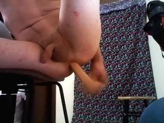 Fucking my butt on a stool