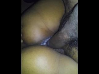 Sloppy wet pussy on dick
