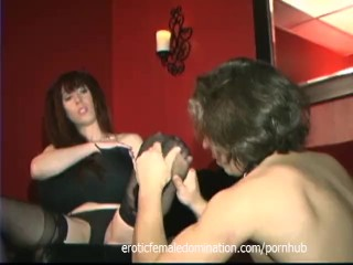 Raunchy busty bitch has her cunt licked while giving a handjob