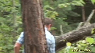 Preview 1 of german teen banged in the forest