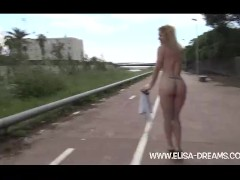 Flashing nude in public in Spain