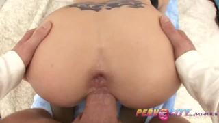 PervCity Filthy Nympho Christie Stevens Gets Fucked In The Ass deep throat big tits pervcity blonde blowjob shaved pussy huge cock gagging cumshot prolapse anal ass fuck stockings big dick spit doggystyle