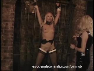 Three lusty bimbos have some kinky lesbian fun in the dungeon