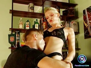 Bitchy blonde fucking her man's throbbing cock