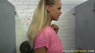 Britney Young gets creampied by BBCs - Gloryhole  hardcore big black cock kink big tits blowjob blonde gloryhole glory hole pornstar big boobs creampie interracial dogfartnetwork fetish