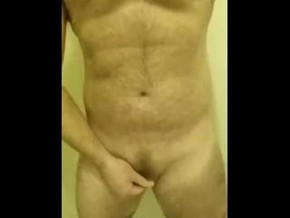 Hairy cub strokes his tiny cock - chub FTM jerks small clit dick