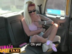 FemaleFakeTaxi Tattooed busty babes fuck in cab