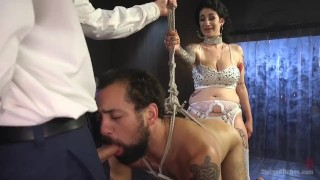 Arabelle's Basement Cuckold Debasement domination 3some femdom divinebitches hardcore bisexual kink blowjob natural-tits bdsm huge-tits big-boobs big-tits divine-bitches brunette tattoos fetish humiliation