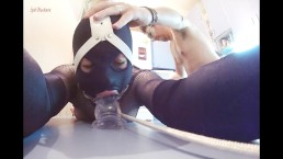 Kitchen table brutal dildo throating & anal ramming ring gagged slut