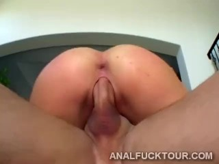 Two horny studs smash a naughty blonde babe ass hole