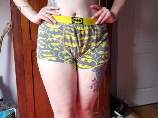 Hot Tattooed goth girl showing her Batman Boxers